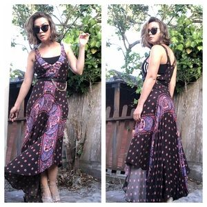 Free People boho gipsy scarf hem maxi dress